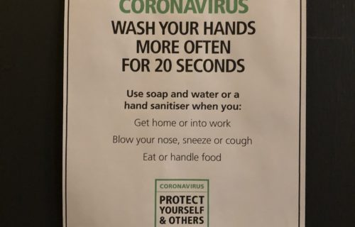Corona virus hand wash sign
